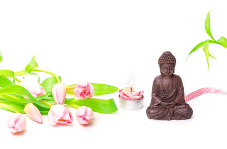 Zen, Buddha, bamboo, tulips