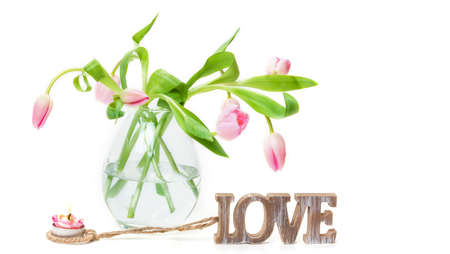 connectedness: Tulips, Love, Candle Stock Photo