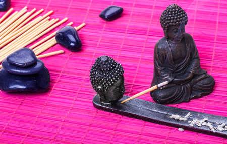 incense sticks: Buddha, incense sticks Stock Photo
