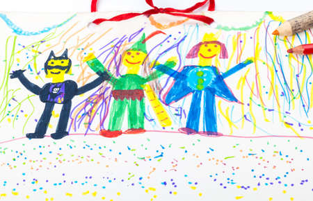 Carnival, childrens drawings, calendar page