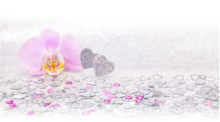 Heart, orchid, background