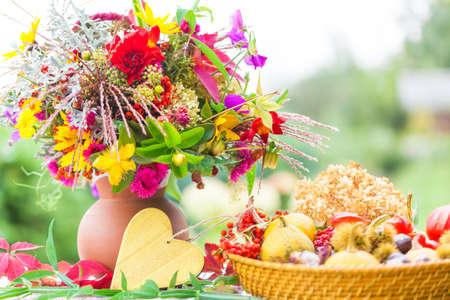 colorful flowers: Autumn Bouquet, colorful autumn decoration Stock Photo
