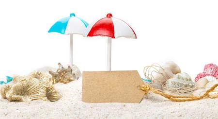 Summer, cardboard sign on the beach Imagens