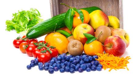 Fruits, vegetables, tipped out Standard-Bild