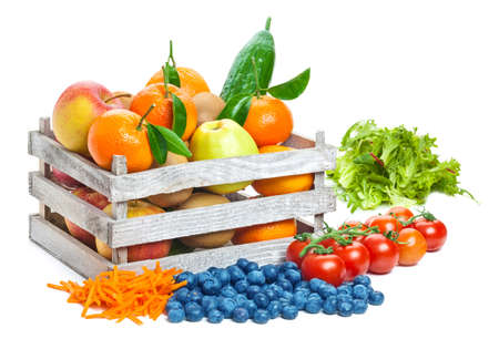 fruits in a basket: Fruits and vegetables, box