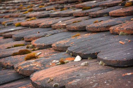 hinder: Old roof, roof clapboards Stock Photo