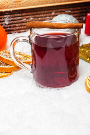 mulled wine spice: Mulled wine with cinnamon stick Stock Photo