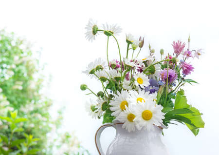 Bouquet with daisies and columbines