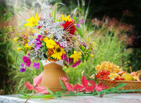 Autumn flowers, fall decoration on the terrace