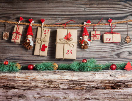 a calendar: Christmas Calendar, gifts Stock Photo