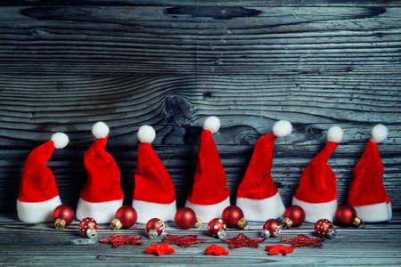 greeting card: Santa hats, Christmas decoration