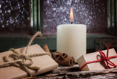 windowpanes: First Advent, Gifts Stock Photo