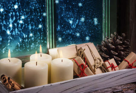 windowpanes: Fourth Advent, Christmas decoration Stock Photo