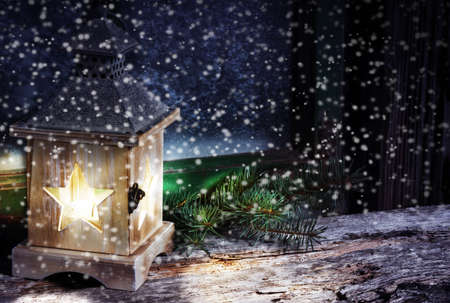 windowpanes: Lantern in snow flurries