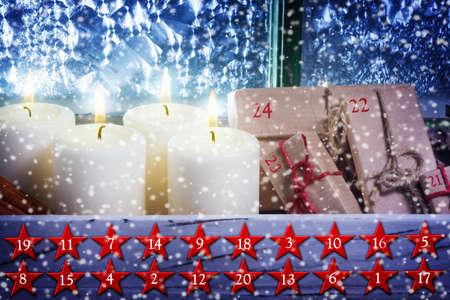 Weihnachtskalender, Adventskalender Standard-Bild - 50299415