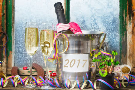 turns of the year: Champagne New Years Eve, New Year 2017 Stock Photo