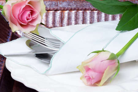 place setting: Place setting for Valentines Day Stock Photo