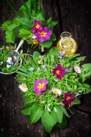 primrose oil: Spring flowers and   wild herbs