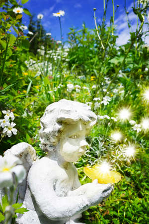 butterfly  angel: Angel with butterfly on spring meadow Stock Photo