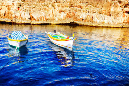 fishing boats: Colored fishing boats, Malta Stock Photo