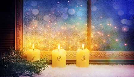 3th Advent, Window decorations Stock Photo