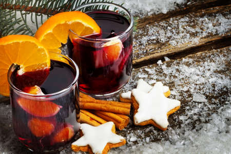 Mulled wine with orange and cinnamon stars