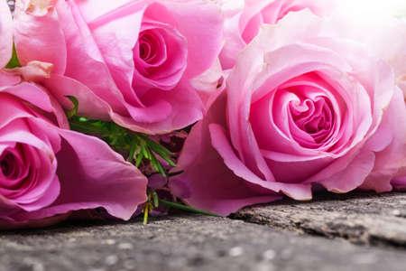 whitsun: Pink roses on wood