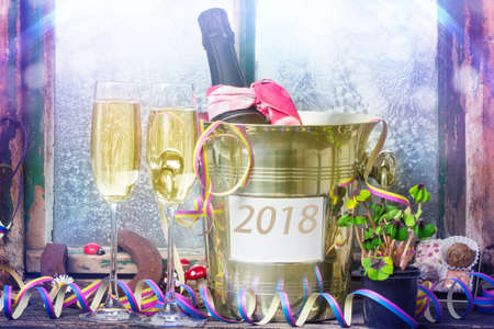Sparkling wine on New Year's Eve, New Year 2018