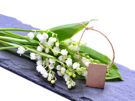 Lily of the Valley with card on Slate Stock Photo