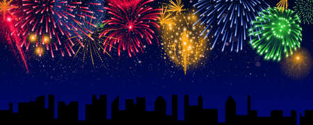 Colorful fireworks over the city, banner