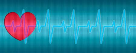 Heart Beats, Heart ECG, curves in diagram Imagens