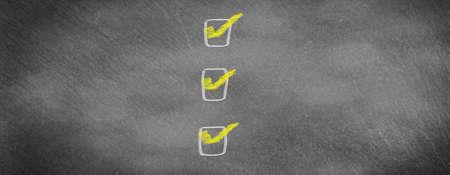 Checklist on slate board
