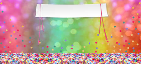 Colorful confetti in front of colorful  with copy space for carnival