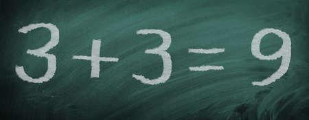 Mathematics task - wrongly calculated - on slate