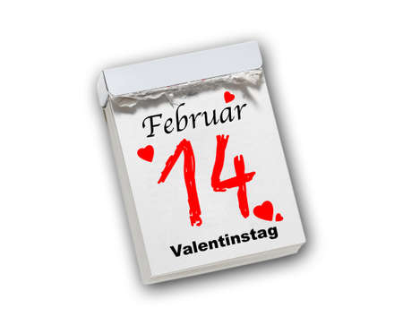 Valentines Day, February 14th, tear-off calendar isolated on white