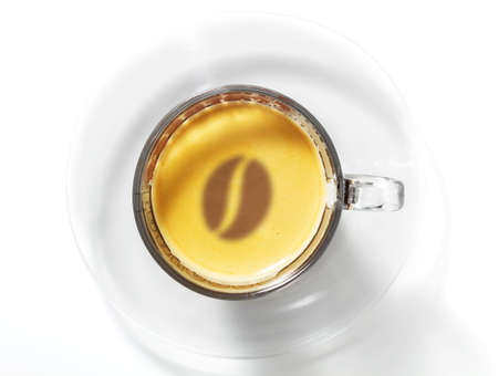 Cup of Espresso with coffee bean in the foam