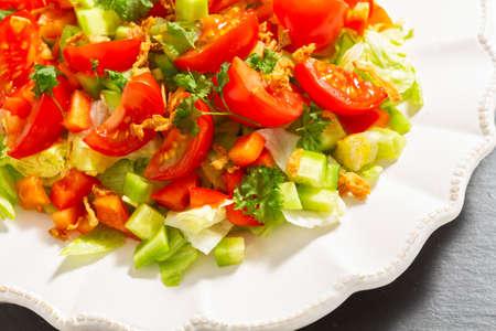 Salad plate on a slate plate