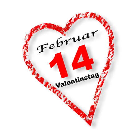 Valentines Day, February 14th, calendar - heart isolated on white