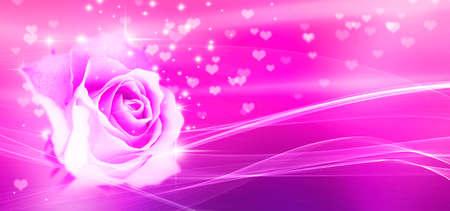 Bokeh, rose and hearts pink