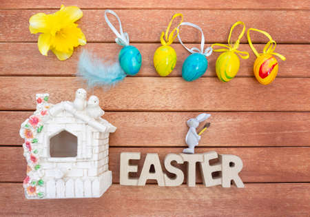 Easter decoration on garden table