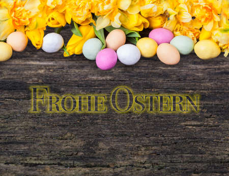 Happy easter, easter eggs, daffodils and tulips on wood Standard-Bild