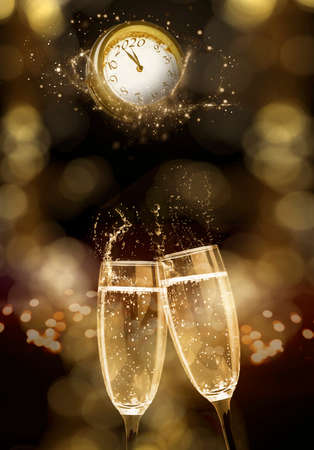 Champagne glasses are touching before clock, Happy New Year