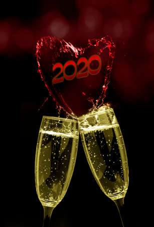 Champagne glasses are coming to the New Year 2020 Standard-Bild