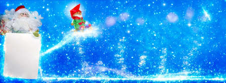 Santa Claus with wishlist and imp, Christmas greeting card as banner
