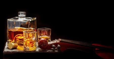 Enjoy a whiskey during the concert break, black background