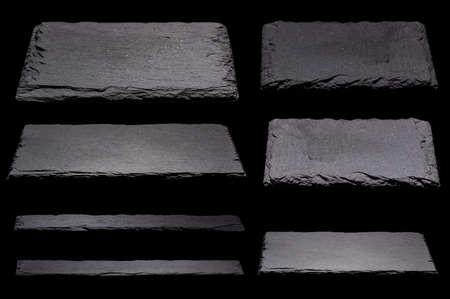 Slate, slate slabs,Blackboards on black background Standard-Bild