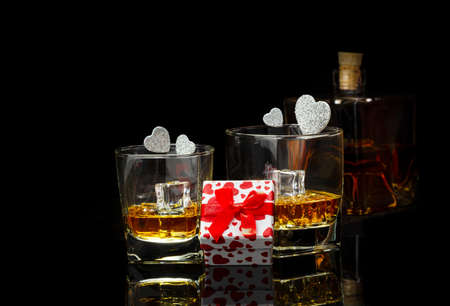Gift, hearts and whiskey for Valentine's Day