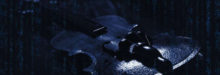 Music worlds - violin, music notes and clef as matrix, dark background
