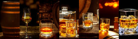 Banners with many different whiskey images, Whiskey in a glass, in bottles, in a barrel Standard-Bild