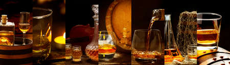 Banners with many different whiskey images,Whiskey in a glass, in bottles, in a barrel Stock Photo